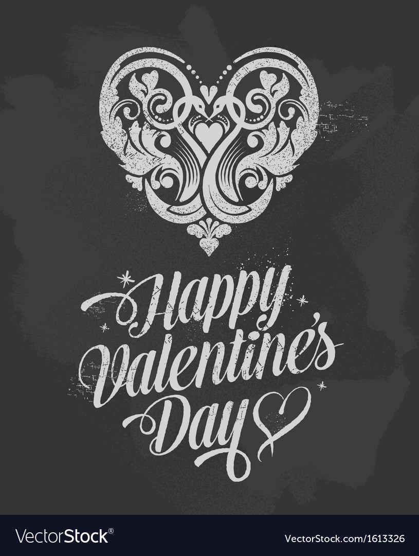 Retro Chalkboard Valentines Day design vector image