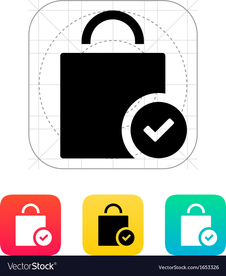 Shopping bag check icon vector image