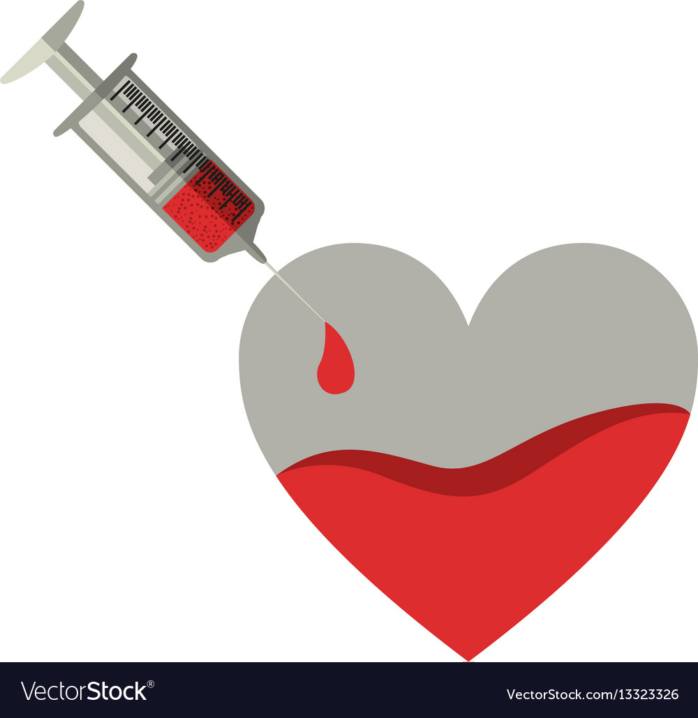 Silhouette Needle Syringe Donate Blood In Heart Vector Image