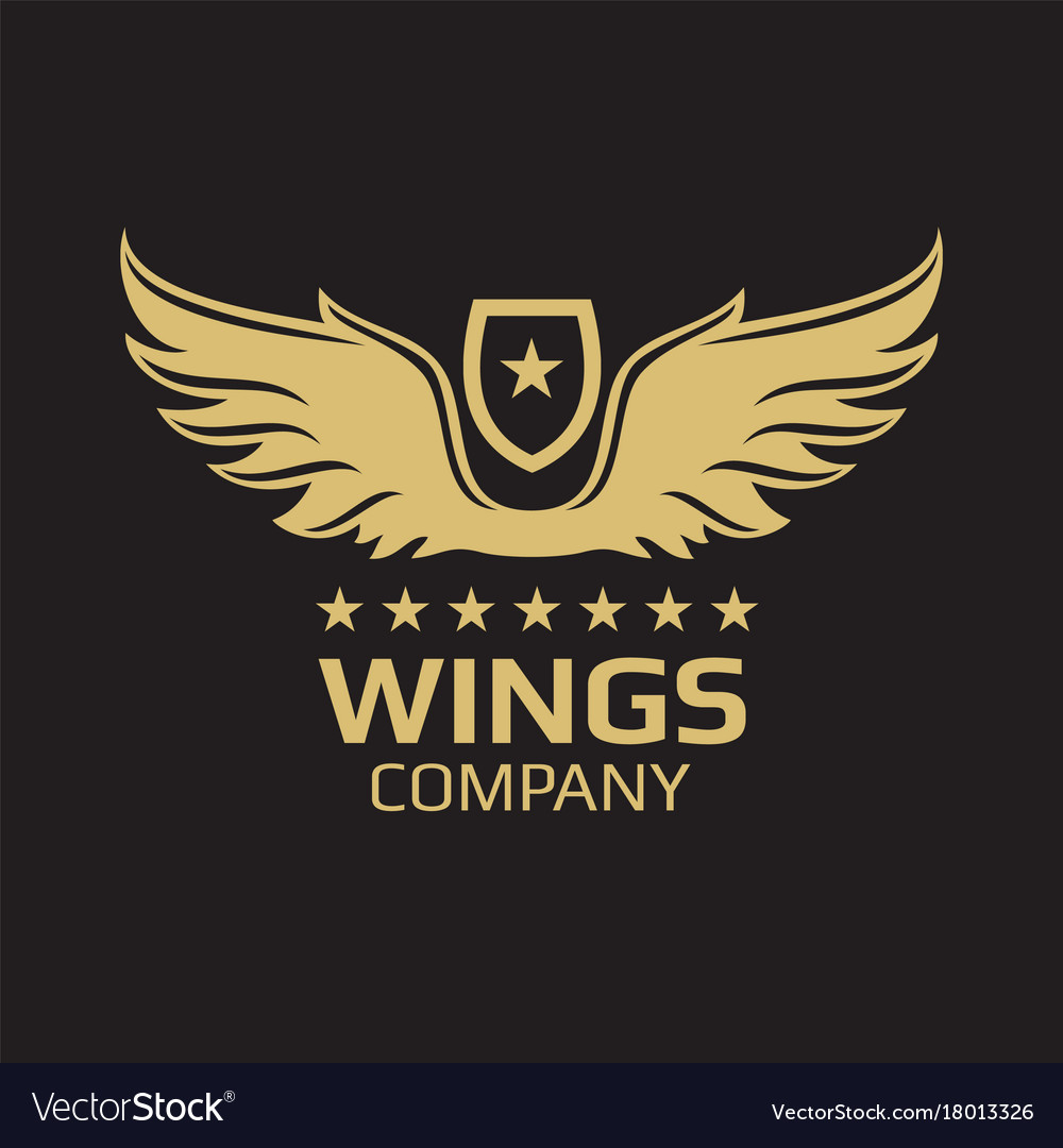 Wings logo design - golden wings on black vector image