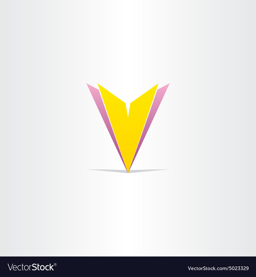 Yellow and purple letter v symbol vector image