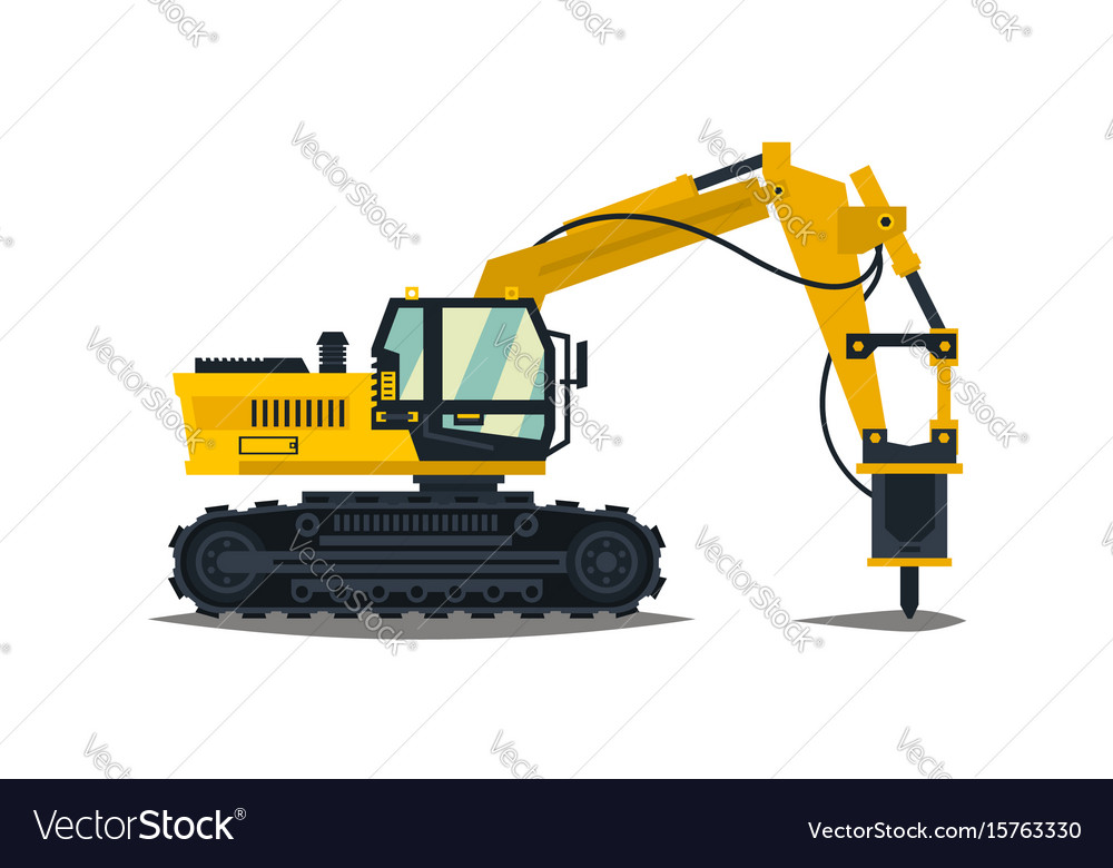 Excavator with his hammer hydraulic crusher vector image