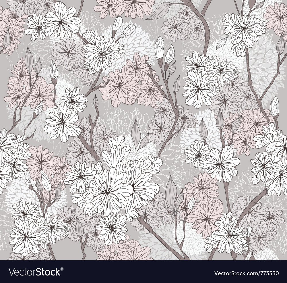 Seamless cherry blossom flowers pattern vector image