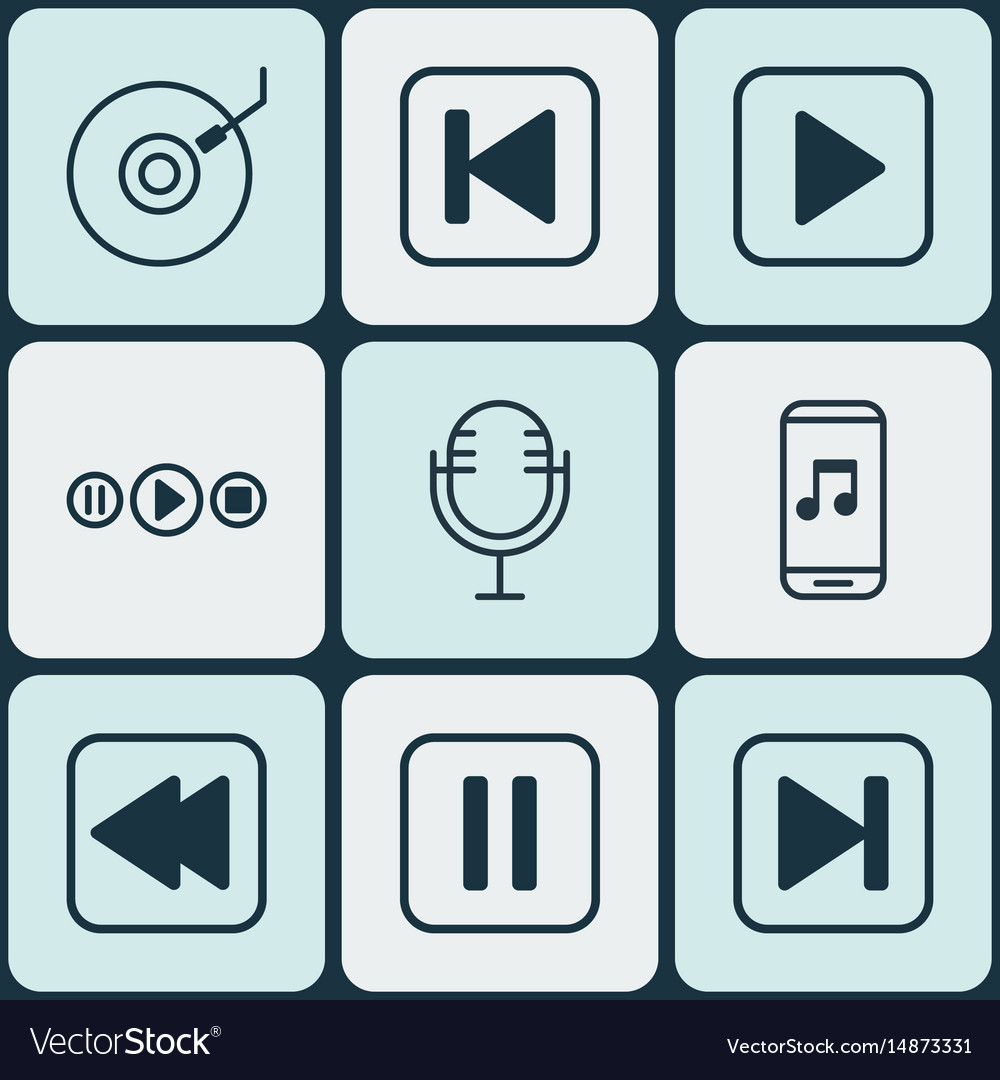 Set of 9 music icons includes gramophone skip vector image