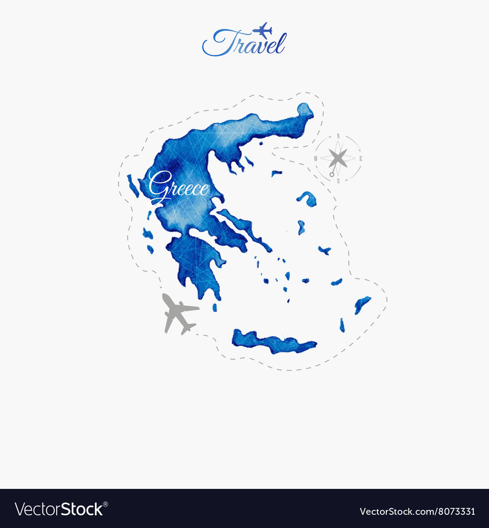 Travel around the world greece watercolor map vector image travel around the world greece watercolor map vector image gumiabroncs Gallery