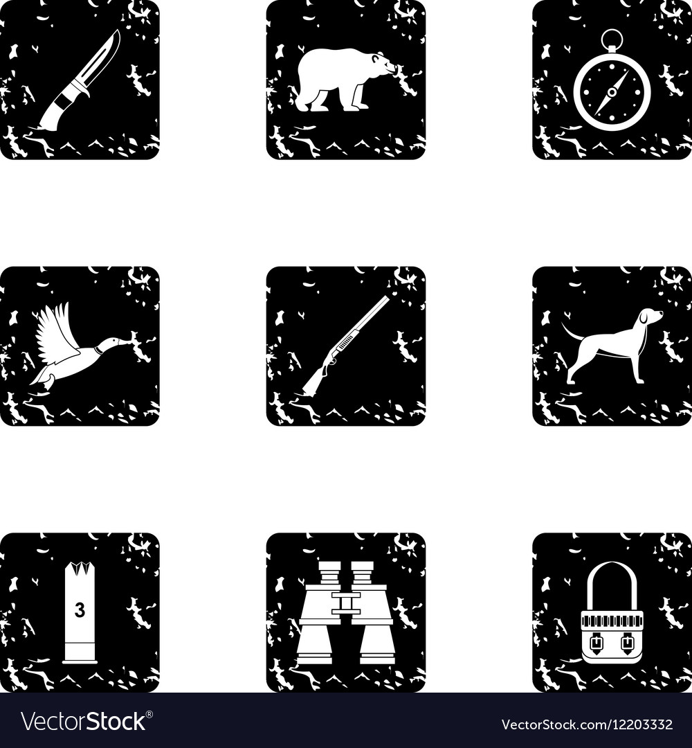 Hunting of animals icons set grunge style vector image