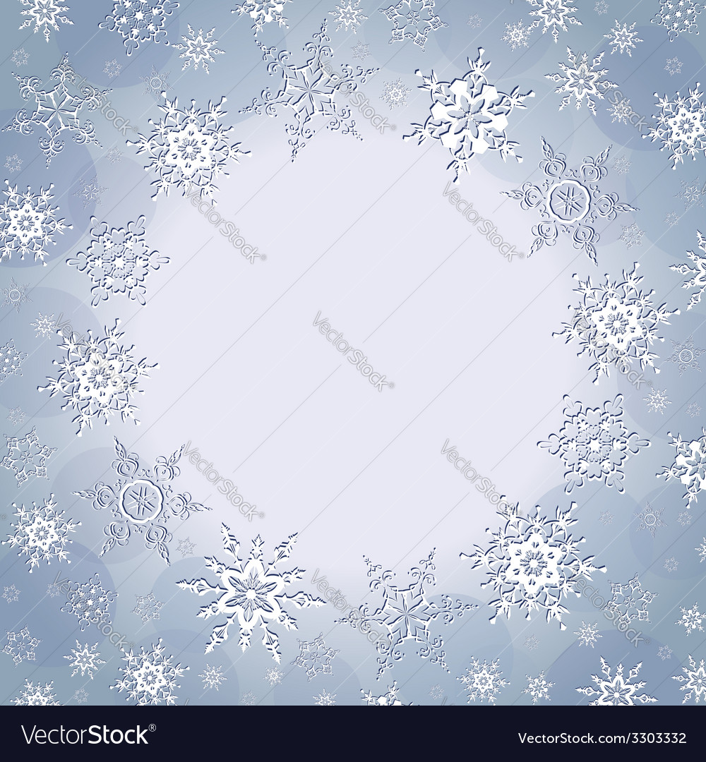 Winter decorative background with snowflakes vector image