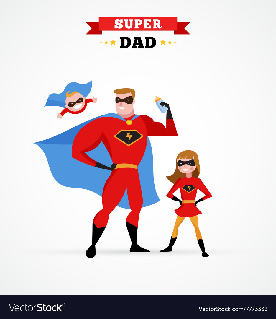 Super hero daddy in superhero costume with kids vector image