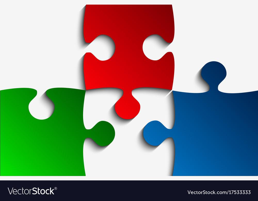 Three rgb piece puzzle jigsaw vector image