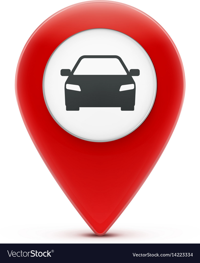 Glossy red map location pointer vector image