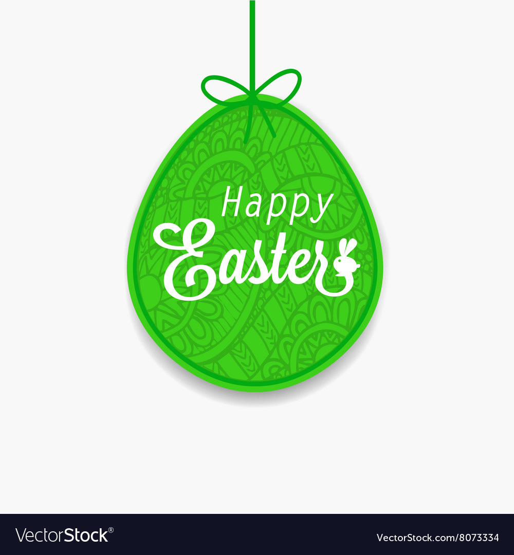 Happy Easter Green egg with ribbon and bow for vector image