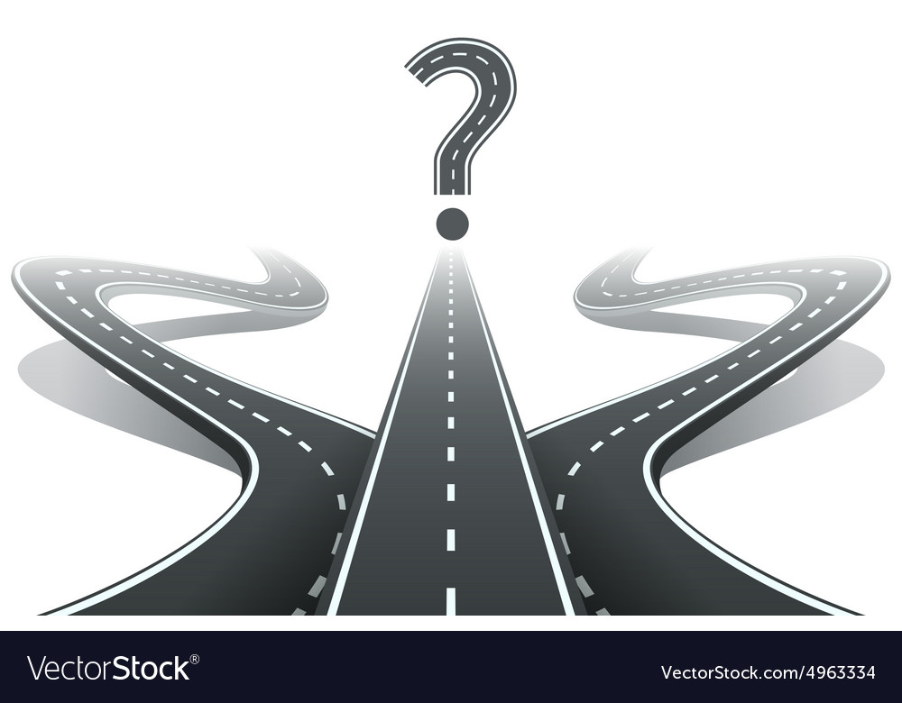 Three roads and question mark Choosing the right vector image