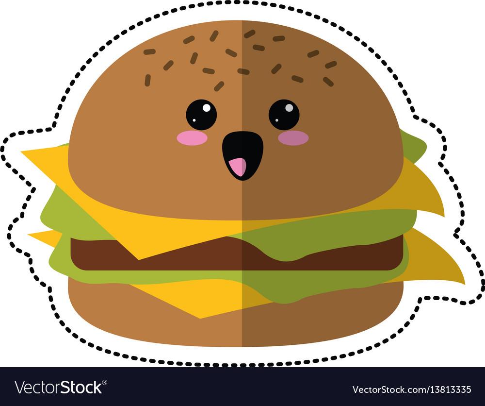 Cartoon burger fast food vector image