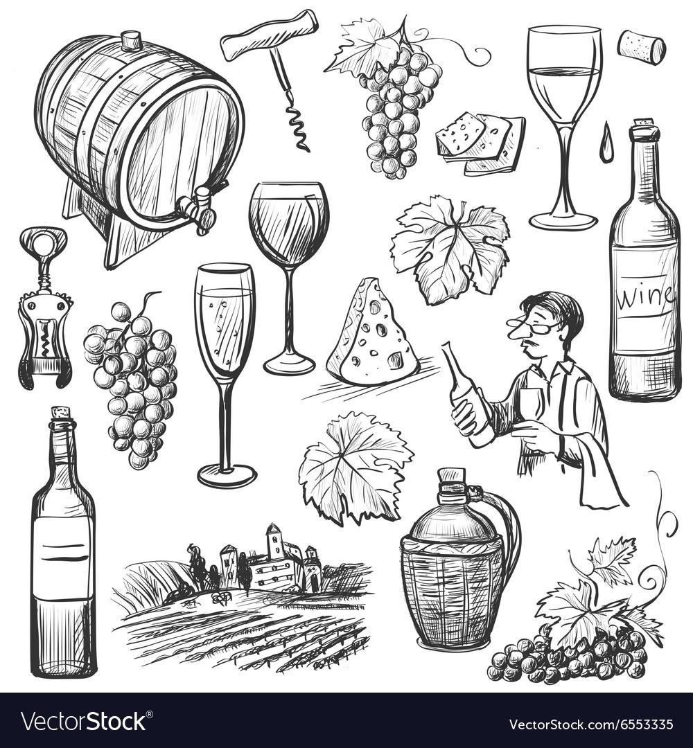 Hand drawn sketch wine set vector image