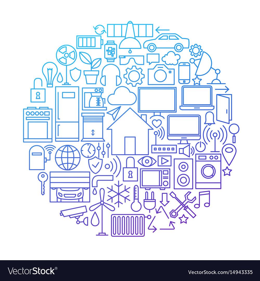 Smart house line icon circle design vector image