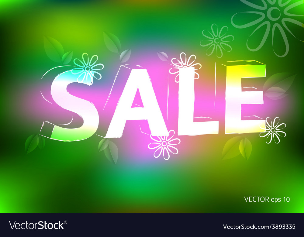 Spring sale marketing effect neon retro background vector image