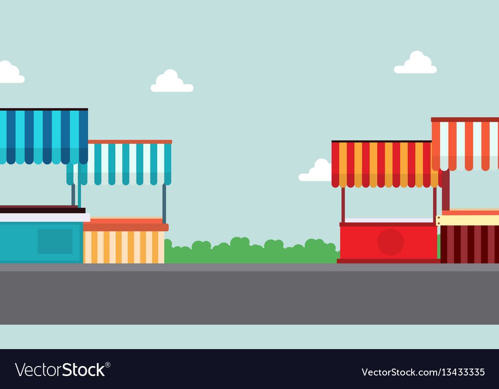 Street stall lined of landscape vector image