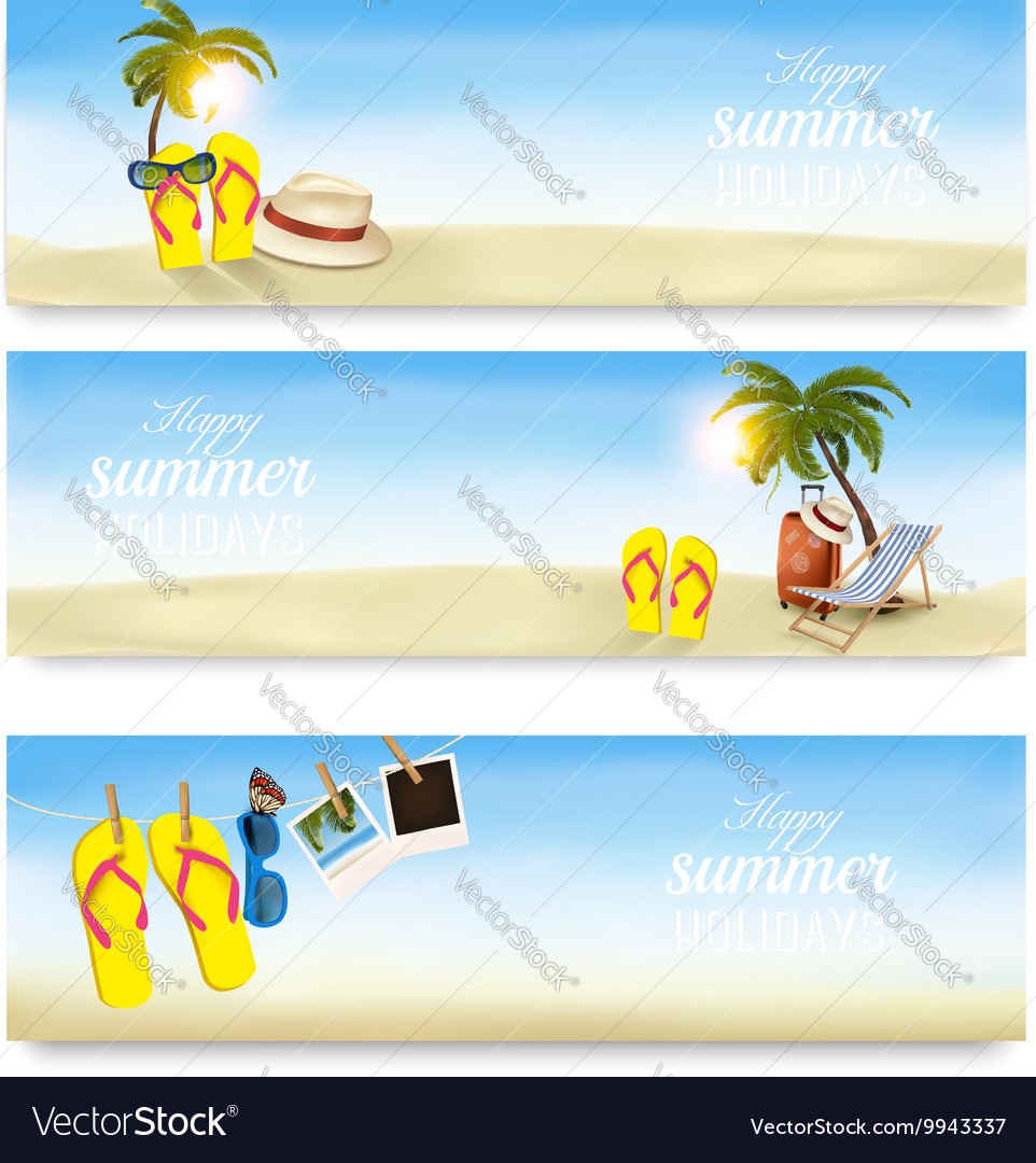 Summer holidays banners Vacation memories vector image