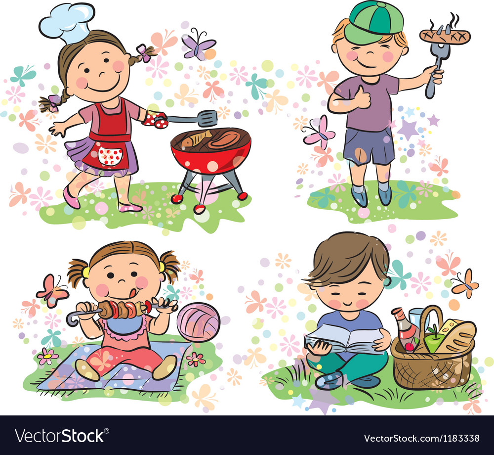 Kids on picnic with barbecue vector image