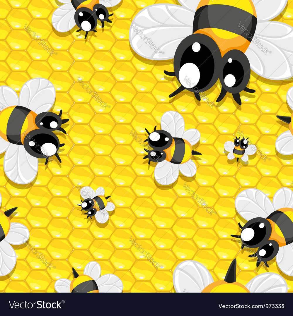 Seamless background with honey and baby bees vector image