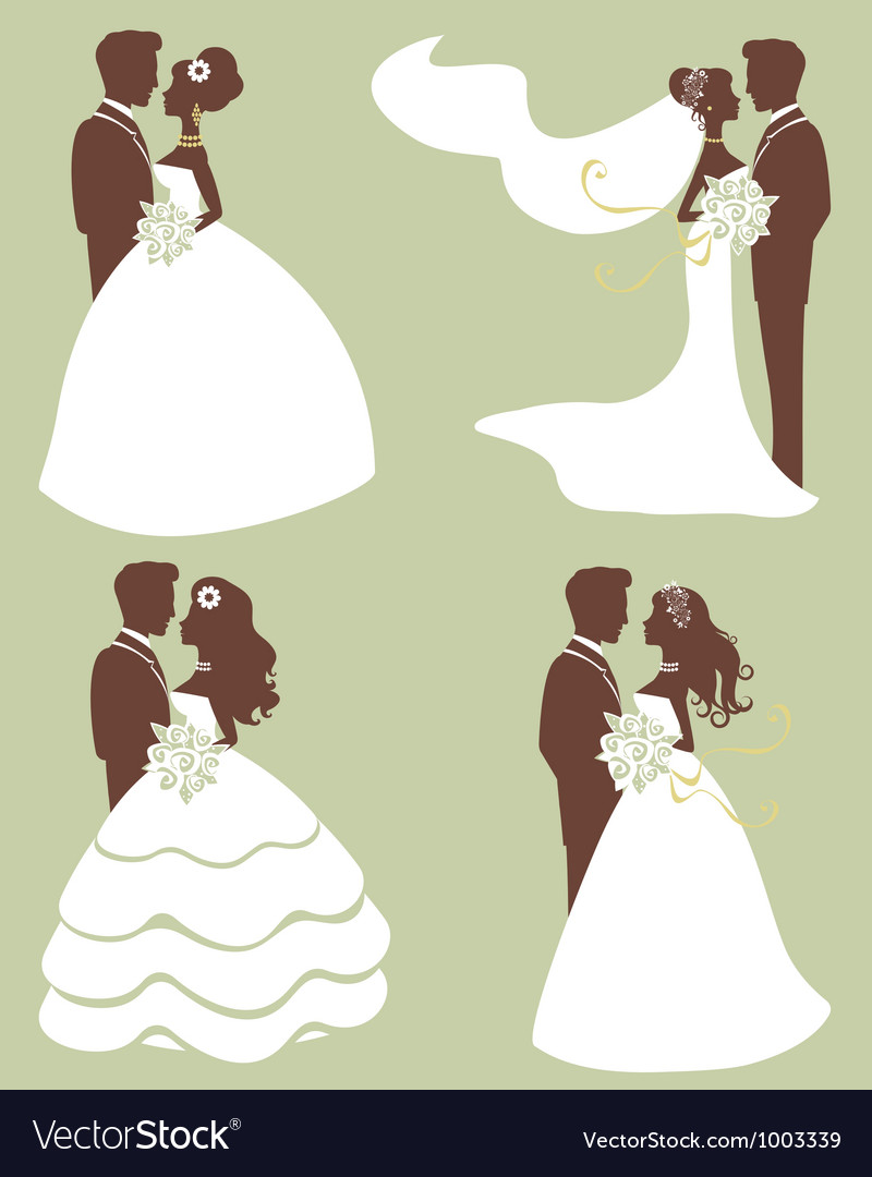 Brides and grooms silhouettes vector image