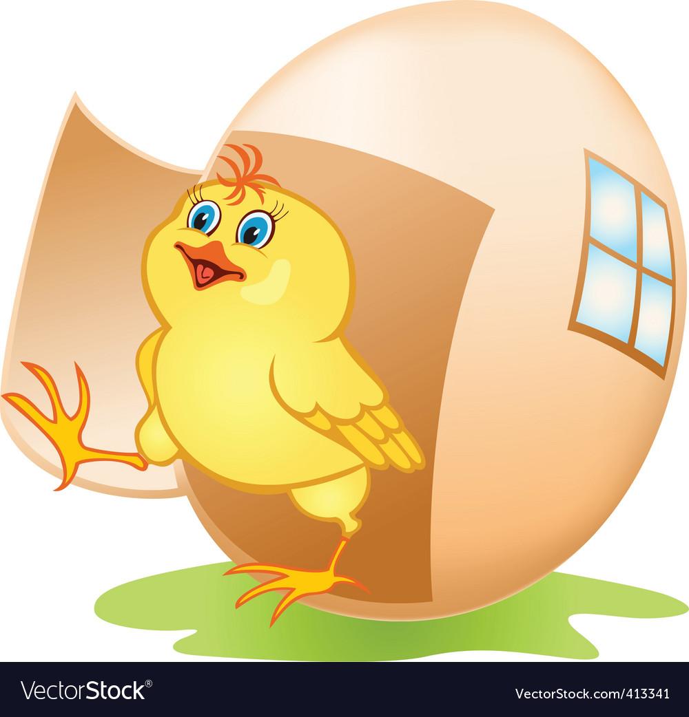 Cartoon chicken and egg vector image