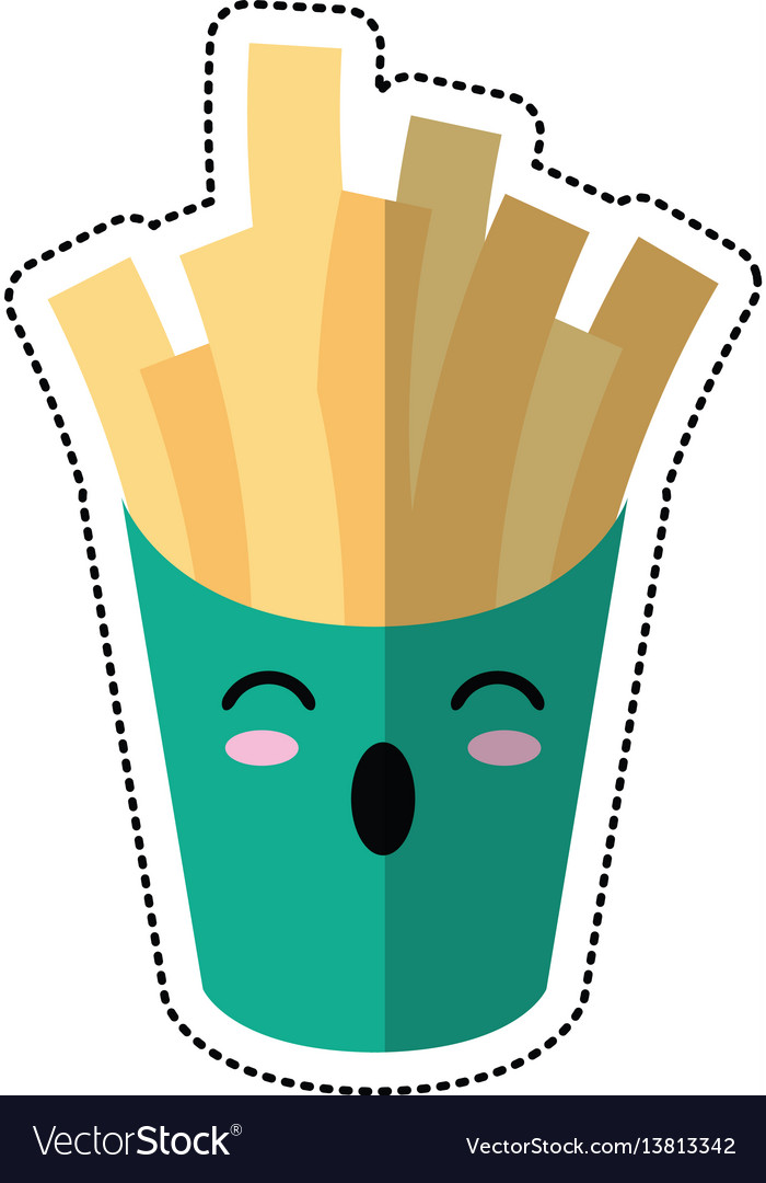 Cartoon french fries fast food vector image