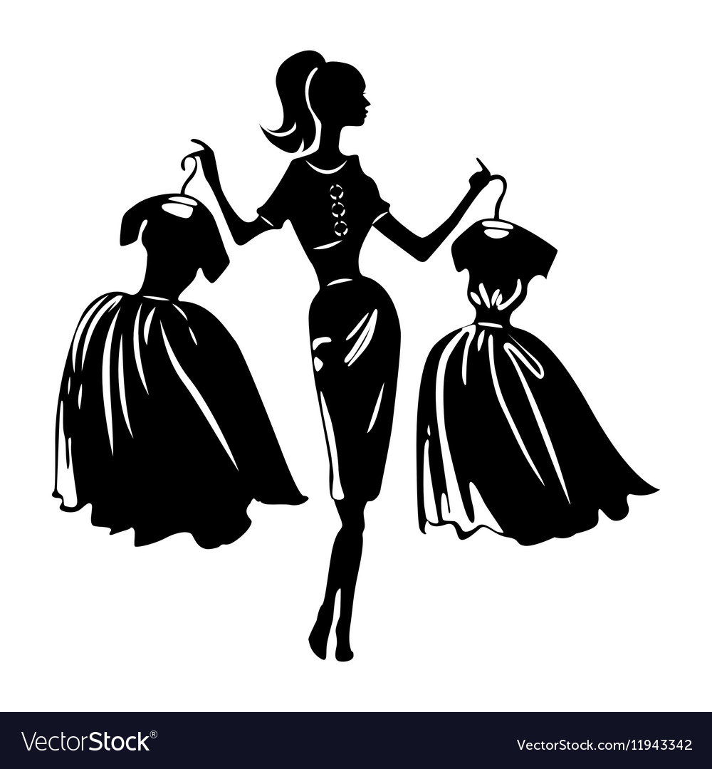 Silhouette of women on white background vector image