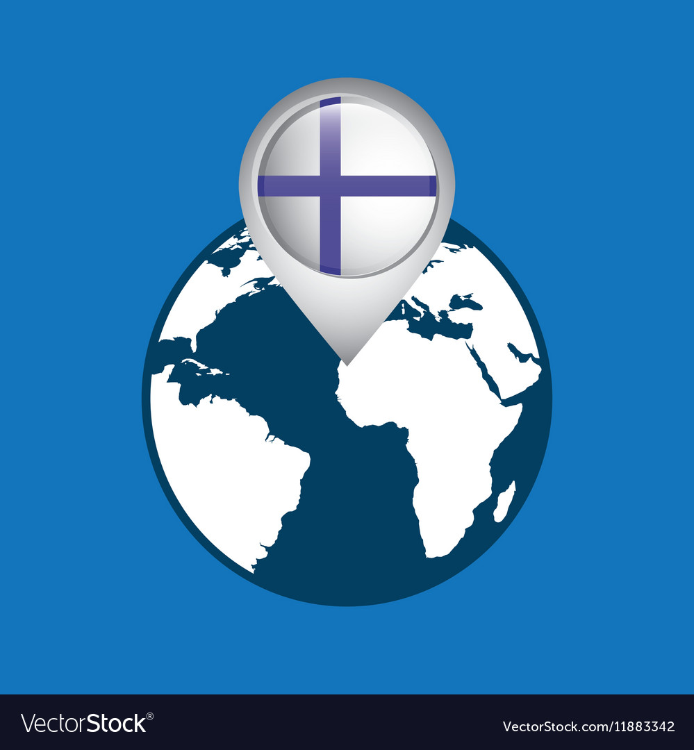 World map with pointer flag finland vector image