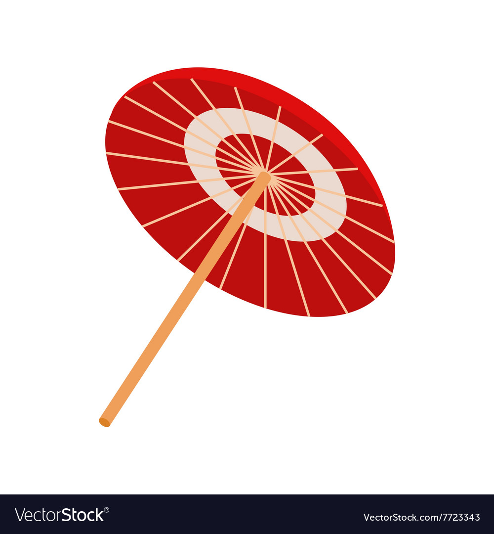 Asian parasol or umbrella icon isometric 3d style vector image