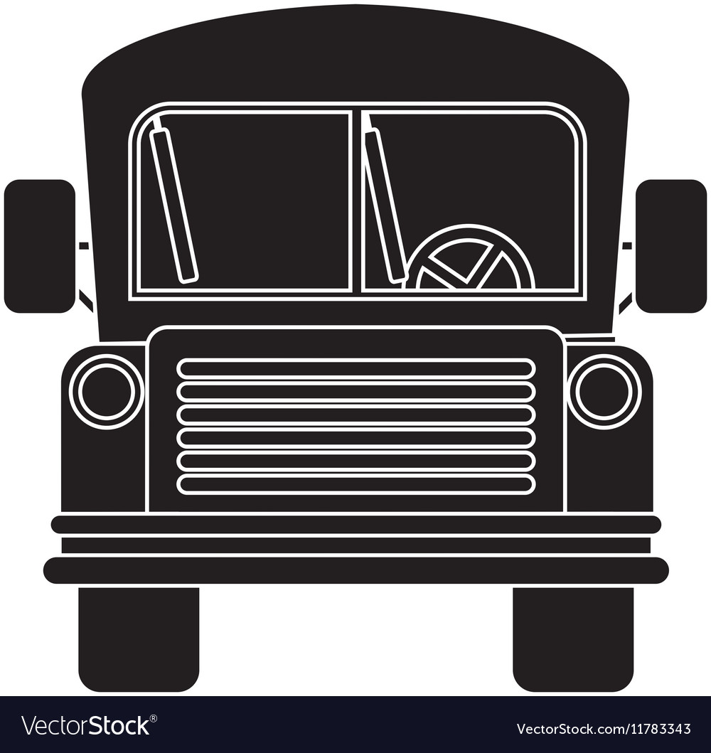 Front view school bus with wheels vector image