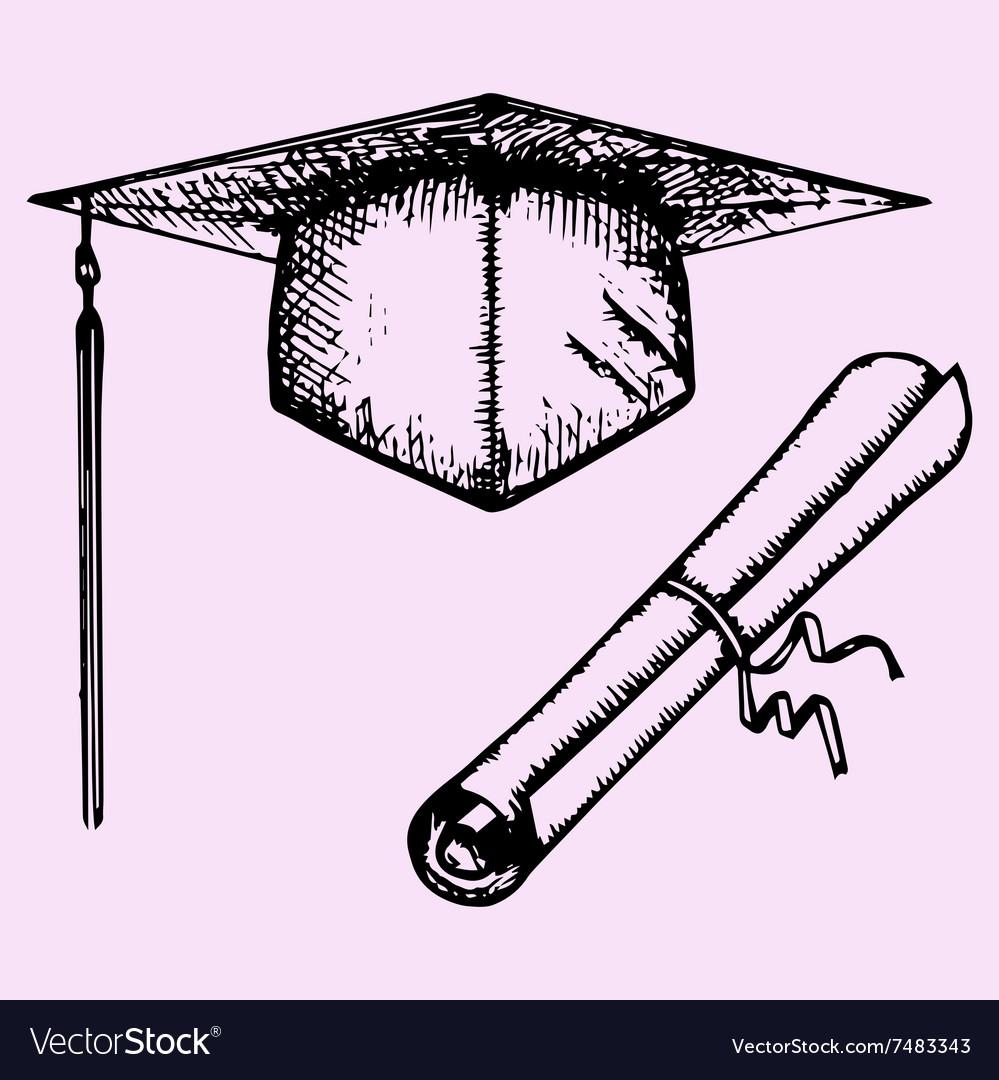 Graduation Cap Degree diploma vector image