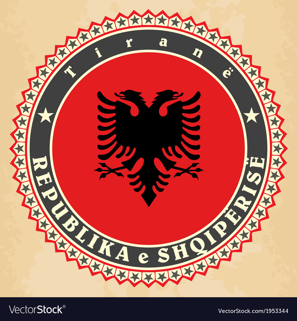 Vintage Label Cards Of Albania Flag Royalty Free Vector - Albania flag