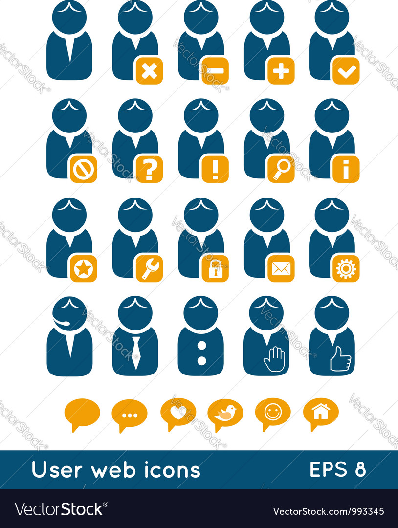User web icons blue set vector image