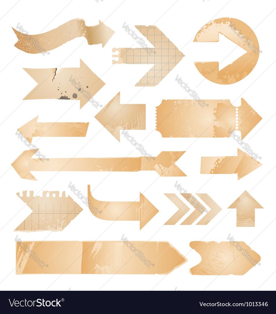 Arrow icons - vintage paper set vector image