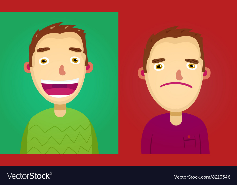 Attractive brown haired man on two different face vector image