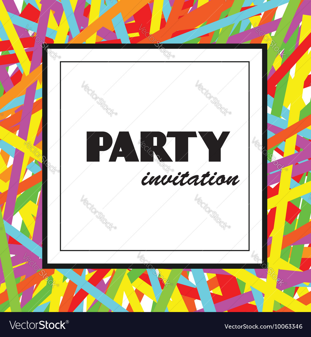 Colorful Party invitation design template Vector Image
