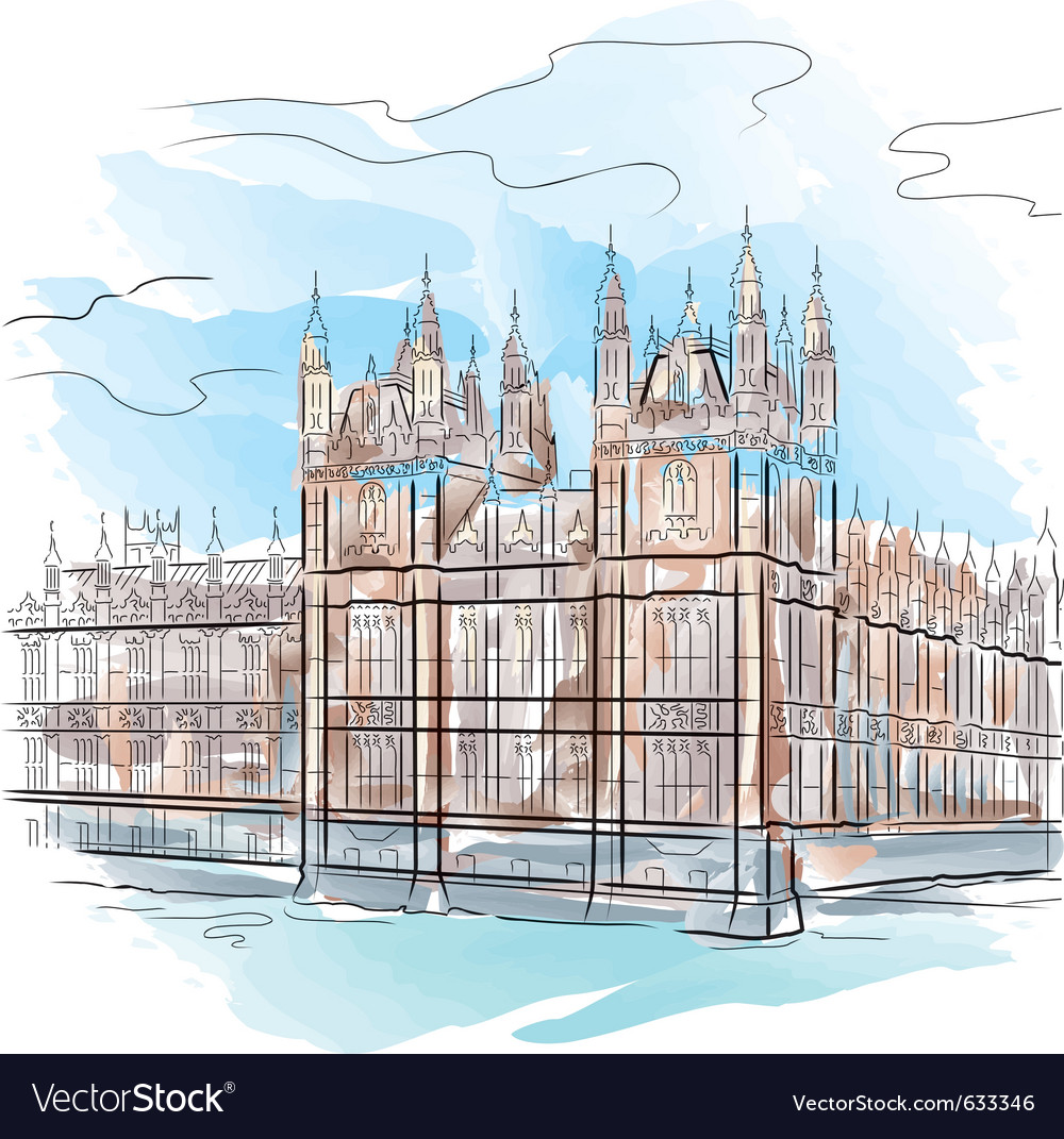 Drawing Color Tower In London Uk Vector Image
