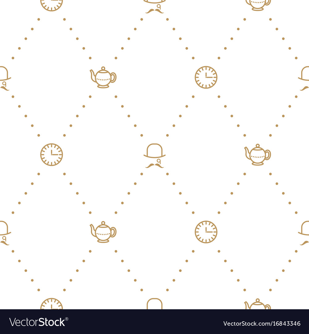 English tea party elegant gold on white line vector image