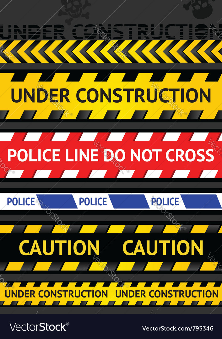 Set caution tapes seamless strip warning line vector image