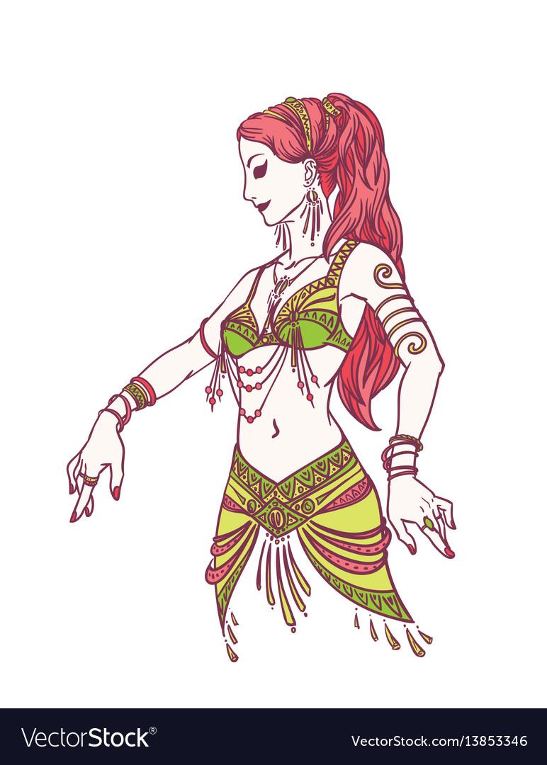 Tribal dancer or belly dancer girl in hand drawn vector image