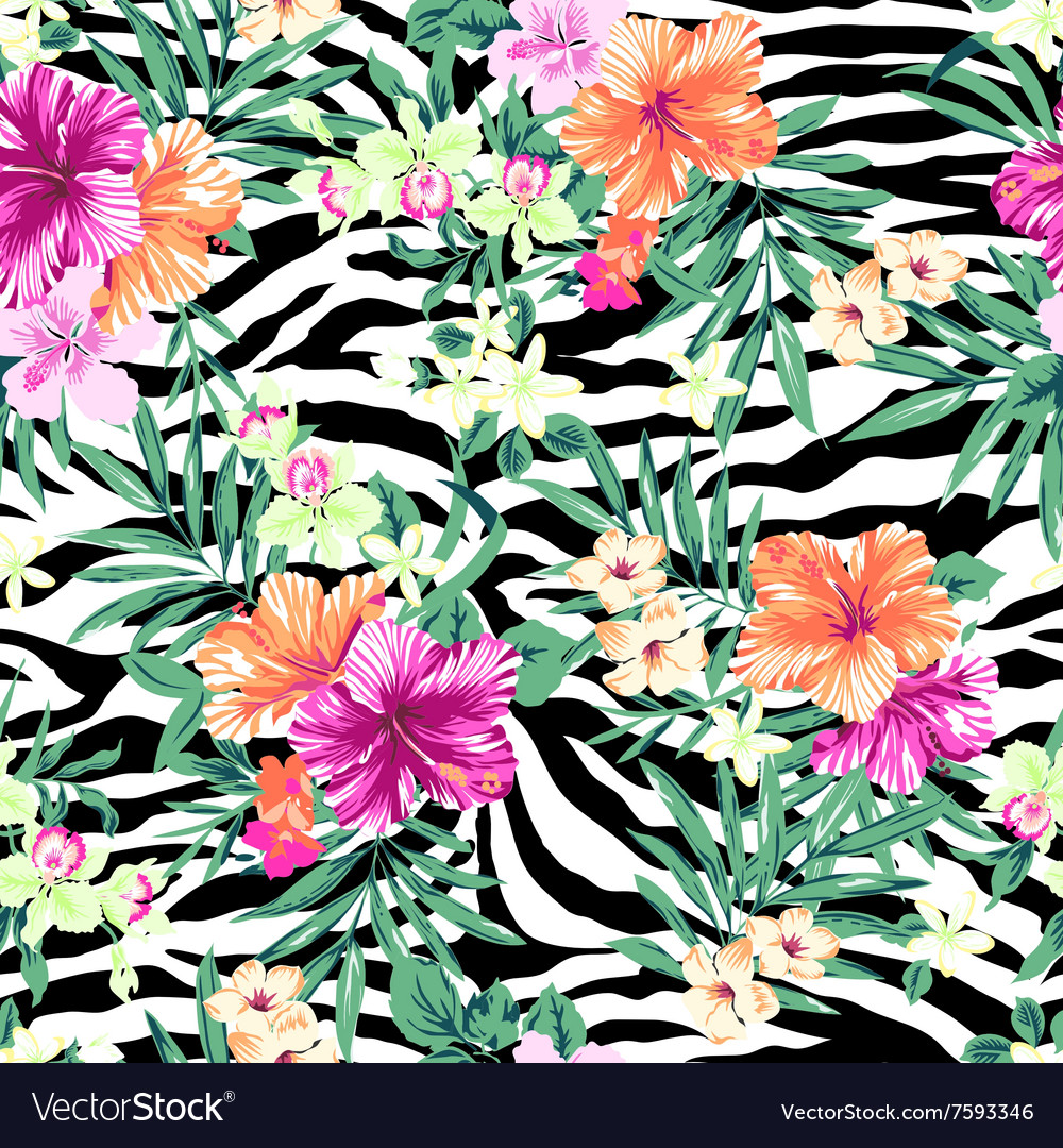 Tropical flowers on zebra background Royalty Free Vector