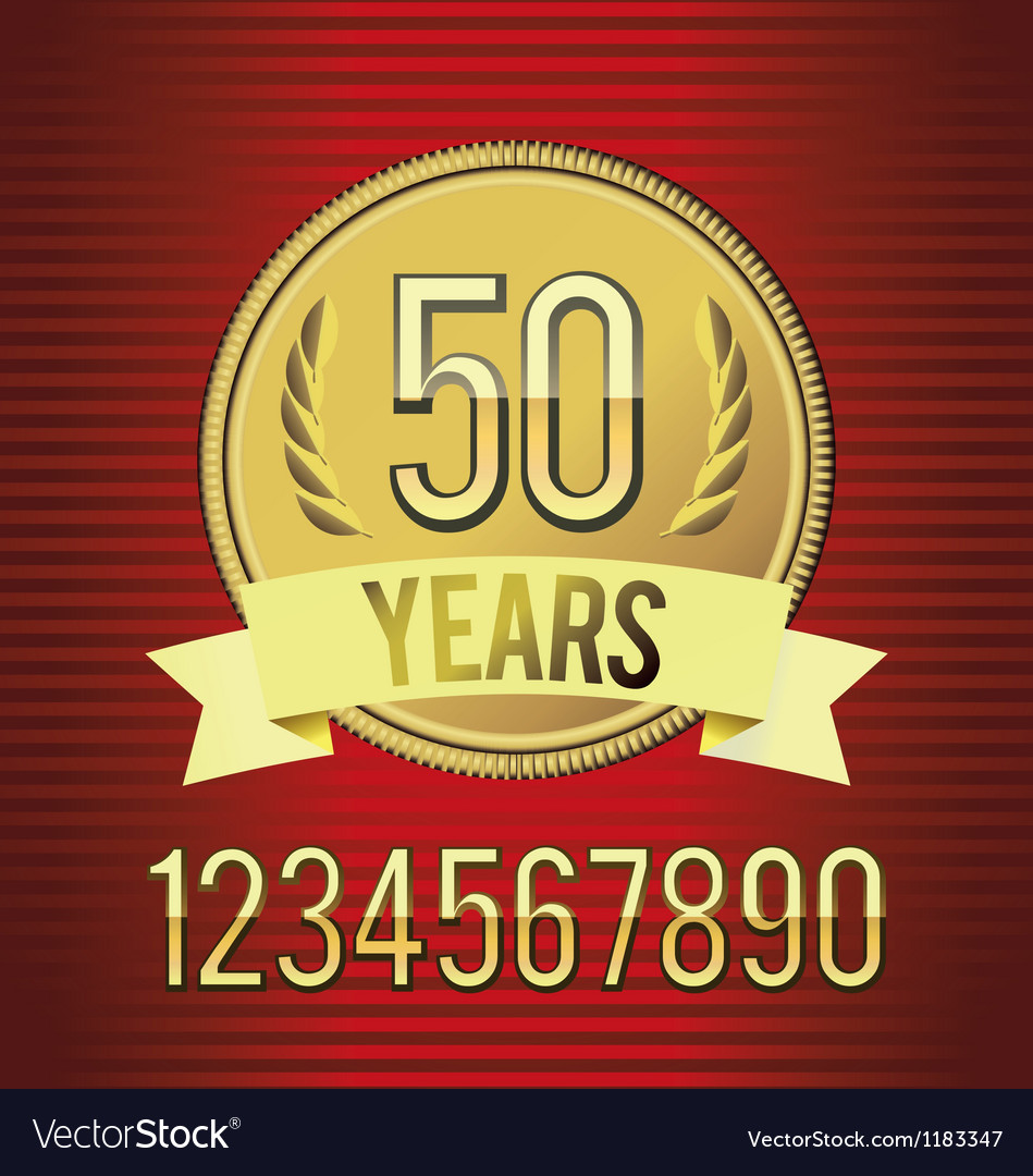 Golden emblem of anniversary vector image