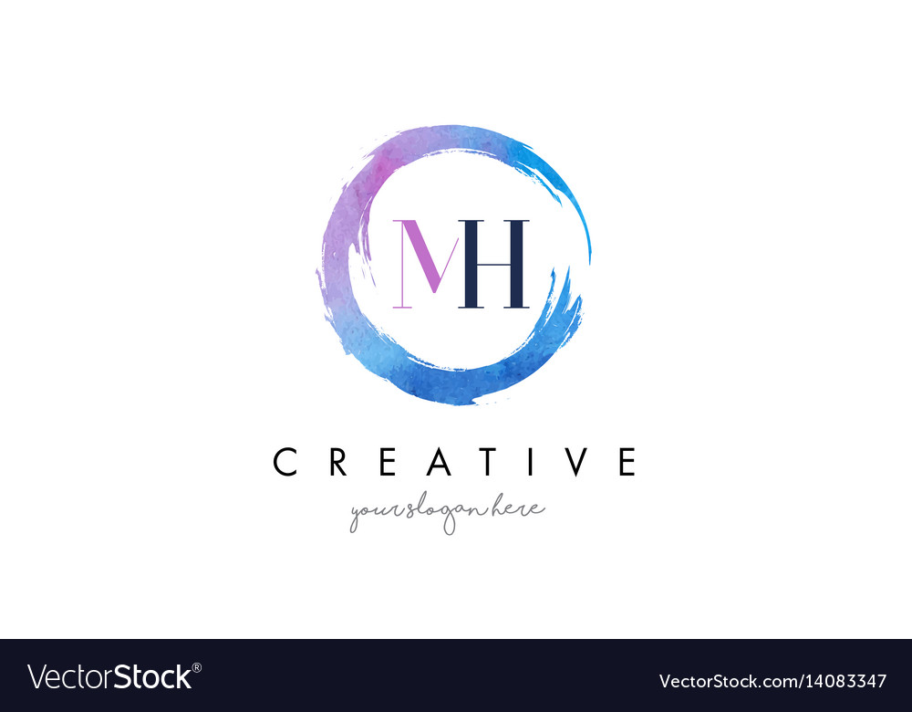 Mh letter logo circular purple splash brush vector image