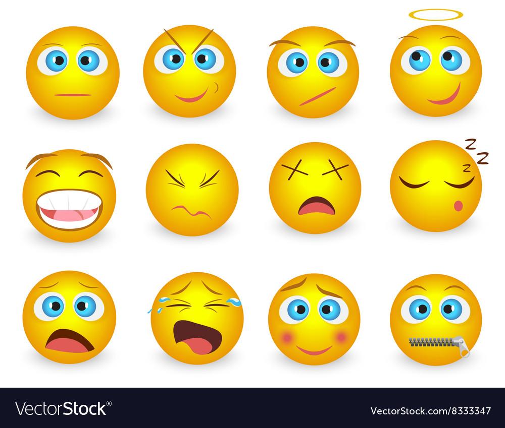 Set of Emoji face emotion icons isolated vector image