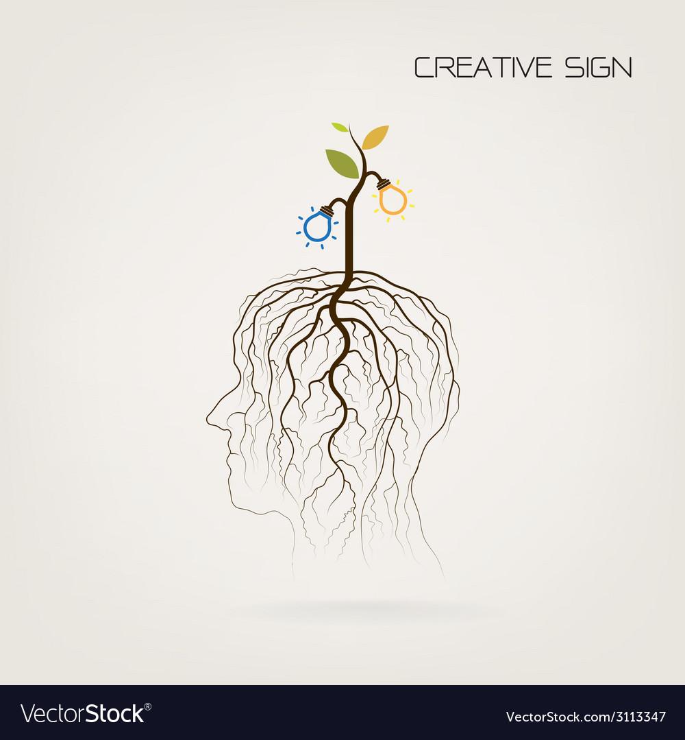 Tree of knowledge shoot grow on human head symbol vector image biocorpaavc Image collections