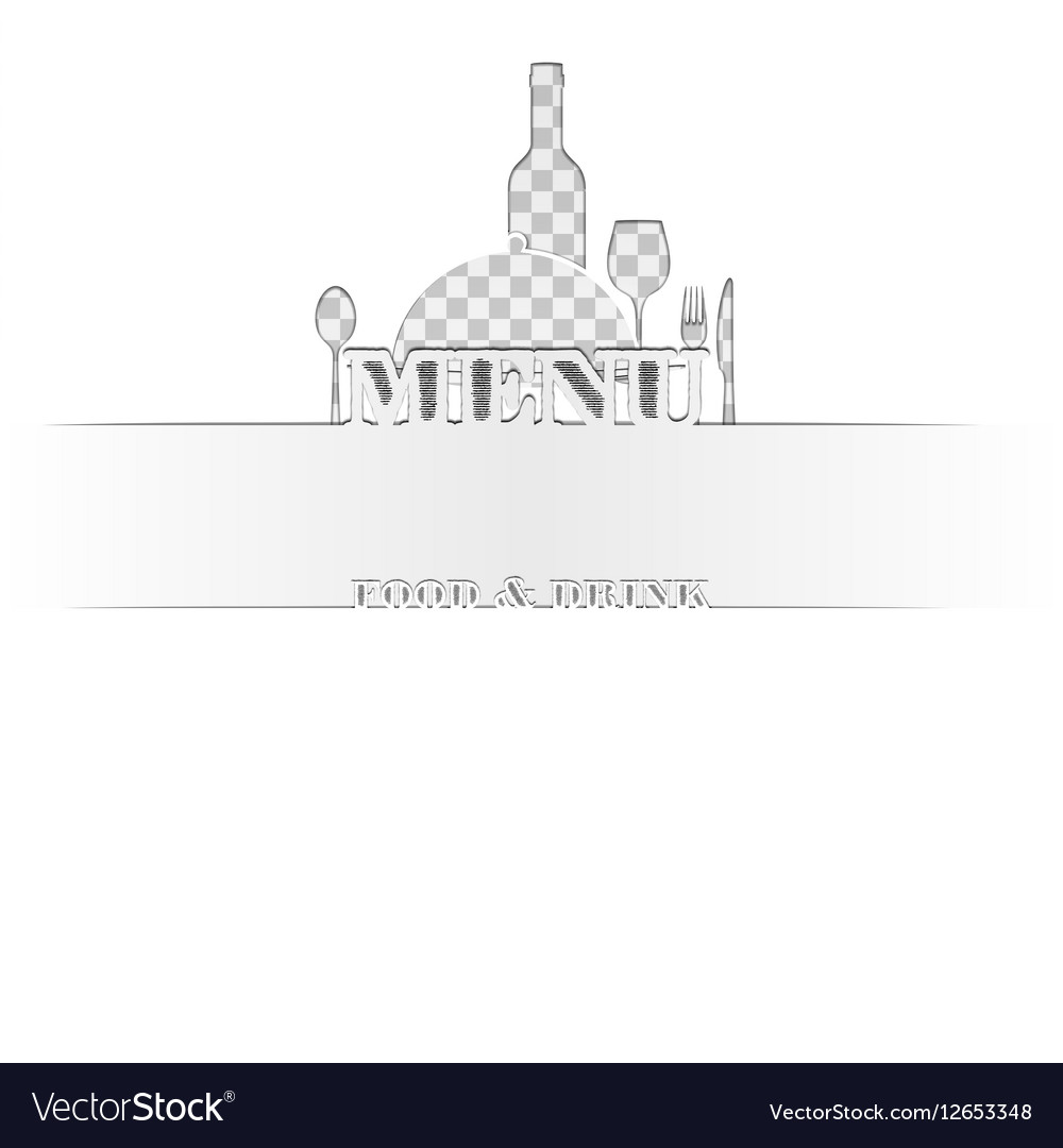 Menu of food and drink cut out of paper vector image