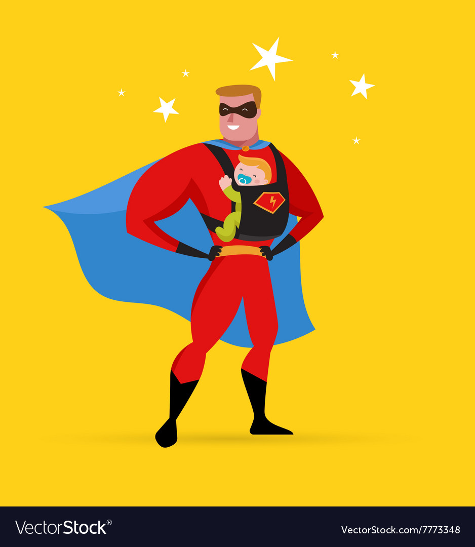 Superhero daddy superhero costume baby carrier vector image