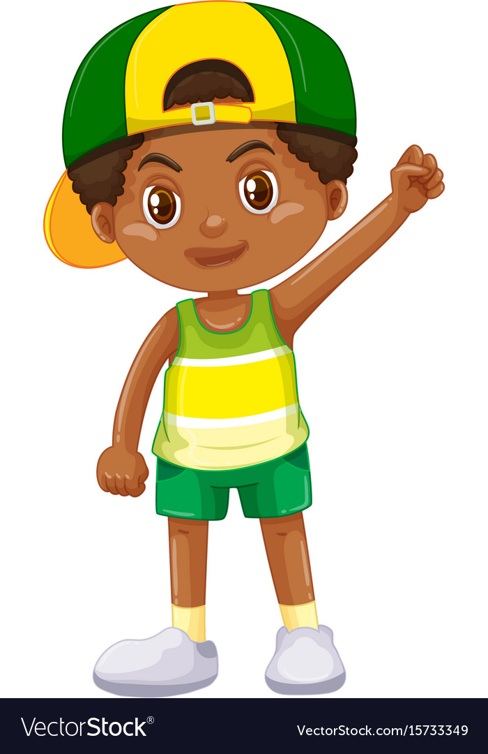 Boy from kenya in green shorts vector image