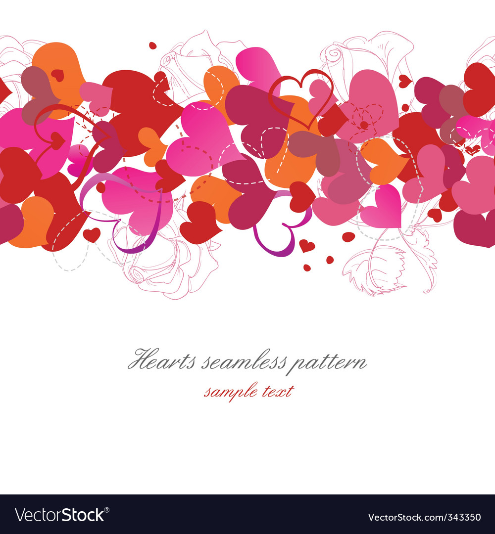 Hearts and roses background vector image